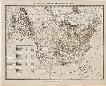 """MAP OVER """"Vereinigte Staaten von Nord-America""""  Druck u Verlag v. C. Flemming in Glogan,1848."""