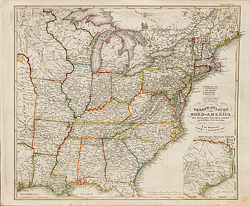 """KARTA ÖVER """"VEREIN-Staaten von Nord-America..."""" F. von Stülpnagel Gotha. J.Perthen 1847."""