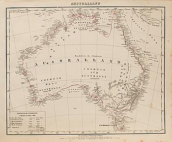 "MAP OVER ""AUSTRALLAND"" Druck u Verlag v. C. Flemming in Glogan, 1841."