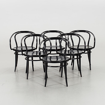 A SET OF 6 THONET STYLE ARMCHAIRS, end of 20th century.
