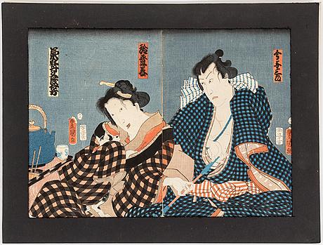 Utagawa kunisada (toyokuni iii)(1786 1864), color woodblock prints, diptych, japan