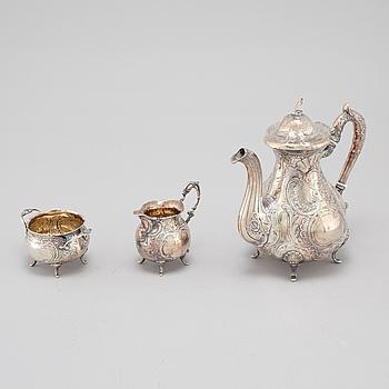 KAFFESERVIS, 3 delar, silver, GEWE, 1972.