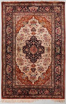 A RUG, old silk Qum, around 200 x 130 cm.