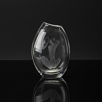 VICKE LINDSTRAND, vas, glas, Kosta, signerad LG 286.
