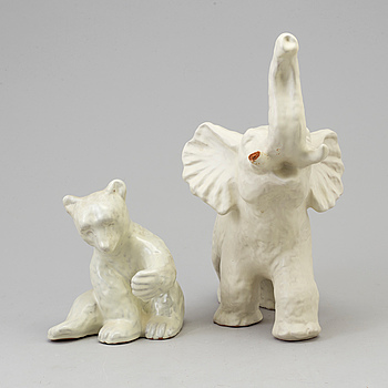 VICKE LINDSTRAND, figurin, lergods, Upsala Ekeby, 1940-/50-tal. Samt figurin, okänd formgivare.