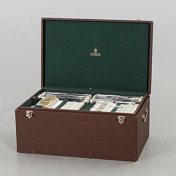 """BESTICKSERVIS, 265 delar silver, """"Prins Albert"""" C.G. Hallberg, omkring 1940-talets slut."""