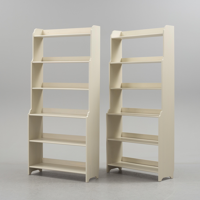 """IKEA, A pair of IKEA""""Leksvik"""" painted bookcases Bukow"""