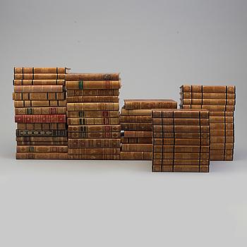 BÖCKER, 55 volymer, halvfranska band, 1900-talets första hälft.