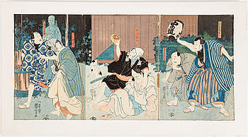 UTAGAWA KUNIYOSHI (1797/98-1861), färg träsnitt, Triptyk. Japan, 1849-53.