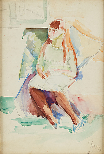 Isaac grÜnewald, watercolor on paper, signed and dated 1913.