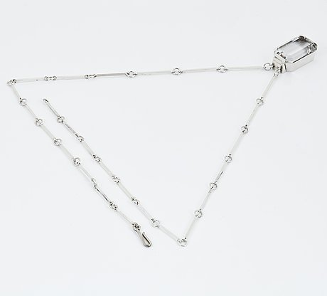 Wiwen nilsson, a sterling and rock crystal necklace with pendant, executed in lund, sweden 1947.