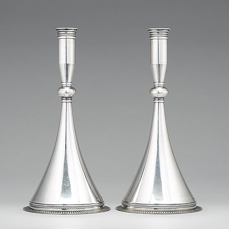 Wiwen nilsson, a pair of sterling candlesticks, lund 1948