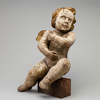 BAROCK, A PAINTED WOOD BAROQUE FIGURE, 17th century.