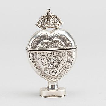 LUKTDOSA silver, Danmark okänd mästare 16/1700-tal.