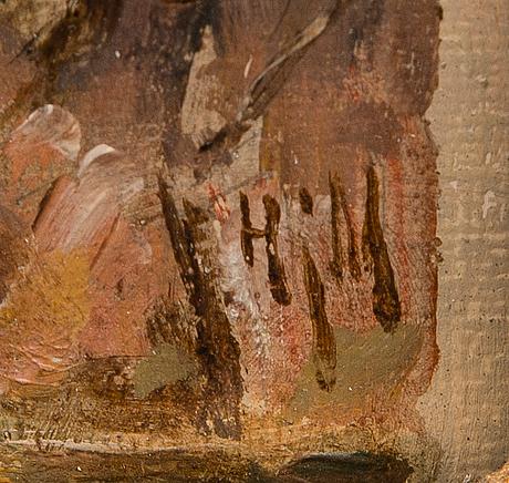 Hjalmar munsterhjelm, olja på pannå, signerad.