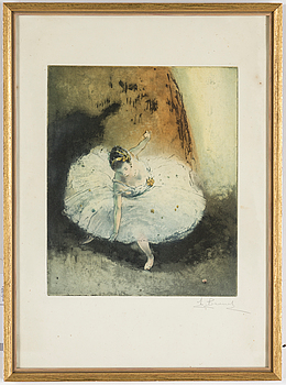 AUGUSTE BROUET, A litograhp in colors, Auguste Brouet, signed.