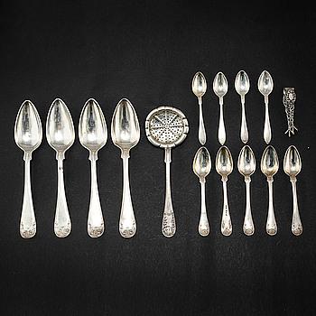 PARTI BESTICK, 15 delar, silver, Sverige, 1800-tal respektive 1900-tal.