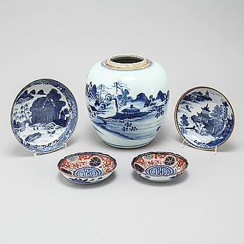 FAT, 4 st, samt BOJAN, porslin, Kina, Qing-dynastin, 1700-, 1800- och 1900-tal.