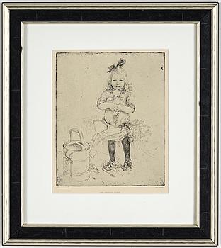 "CARL LARSSON, CARL LARSSON, etching, 1917. ""Den underliga dockan""."
