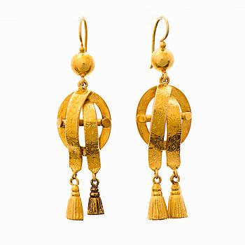 ÖRHÄNGEN, 18K guld. Sverige, mitten av 1800.
