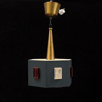 ERIK HÖGLUND, taklampa, 1960-tal. Totalhöjd ca 46 cm.