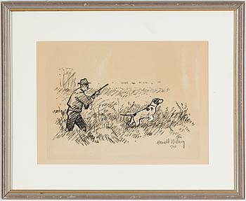 HARALD WIBERG, kolteckning, signerad och daterad 1948.