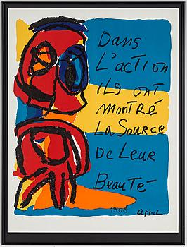 KAREL APPEL, färglitografisk affisch, signerad och daterad 1968 i trycket.