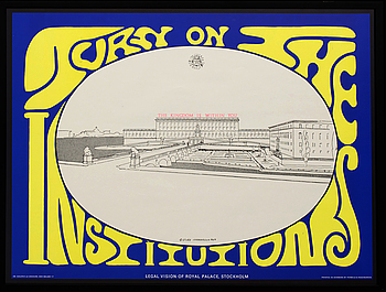 """STURE JOHANNESSON, affisch """"Turn on the Institutions"""", 1967."""