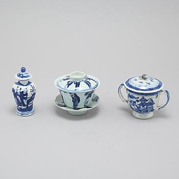 PARTI PORSLIN, 3 delar, Kina, 1700- 1900-tal.