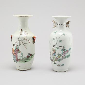 VASER, 2 st, porslin, Kina, tidigt 1900-tal.