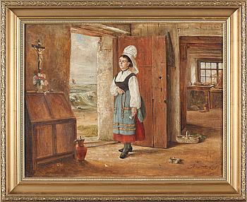 OIDENTIFIERAD KONSTNÄR, olja på duk, otydligt signerad och daterad 1878?.