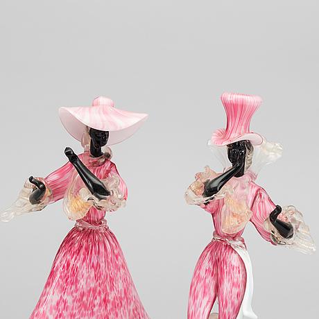 Figuriner, glas, ett par. murano, 1900-talets mitt.
