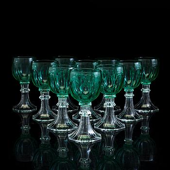 VITVINSGLAS, 10 st, slipat glas, tidigt 1900-tal.