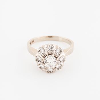 RING, med briljantslipade diamanter 1.00 ct, Uppsala, 1975.