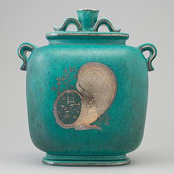 WILHELM KÅGE, an 'Argenta' stoneware  lidded vase from Gustavsberg, 1948.