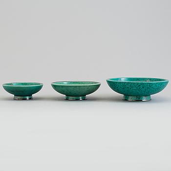 WILHELM KÅGE, three 'Argenta' stoneware bowls from Gustavsberg, second half of the 20th Cnetury.