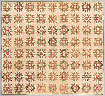BRUDTÄCKE, lapptäcke, ca 273,5 x 245 cm, USA omkring 1900.