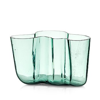 15. Alvar Aalto, a green tinted glass vase, Karhula, Finland ca 1937-49, model 9750.