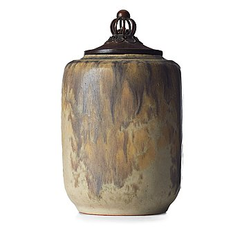 103. Patrick Nordström, a stoneware jar with patinated bronze cover, Royal Copenhagen, Denmark 1918.