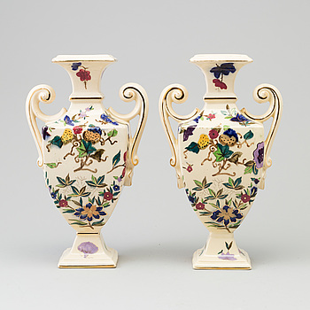 RÖRSTRAND, A pair of early 20th century earthenware urns from Rörstrand.