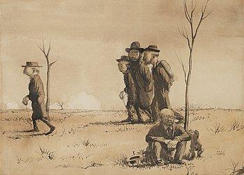 """326. Axel Fridell, """"Uti världen"""" (""""Fyra vandrande män, en sittande man med hund"""") [Out into the world]."""