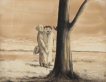 "327. Axel Fridell, ""Två herrar vid stranden betraktar ekorre i träd"" (Two men by the beach watching a squirrel in a tree)."