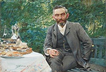 """334. Anders Zorn, """"Frukost i det gröna"""" (Breakfast in the garden / Wholesale dealer Adolf Magnus)."""
