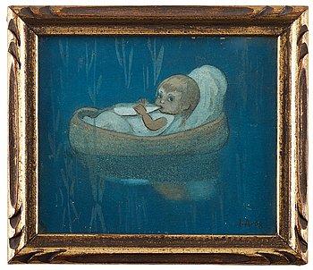 "303. Ivar Arosenius, ""Moses i vassen"" (Moses in the reeds)."