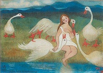"304. Ivar Arosenius, ""Leda och svanorna"" (Leda and the Swans)."