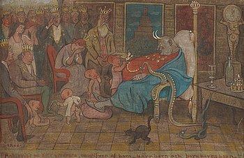 "302. Ivar Arosenius, ""Antichrist at Death's Door, Surrounded by Children, Grandchildren and Great Grandchildren""."