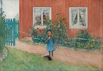 """313. Carl Larsson, """"Brita, en katt och en smörgås"""" (Brita, cat and sandwich)."""