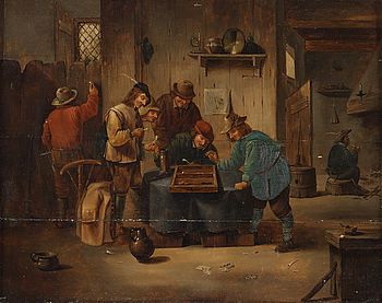 DAVID TENIERS D.Y, after, oil on panel, 19th Century, bears signature.