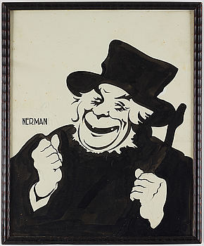 EINAR NERMAN, indian ink and pencil, signed Nerman. Man in a hat.