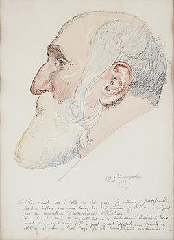 """CARL LARSSON, akvarell och blyerts, signerad C.L. och daterad 1915. """"Gammal man med skägg""""."""